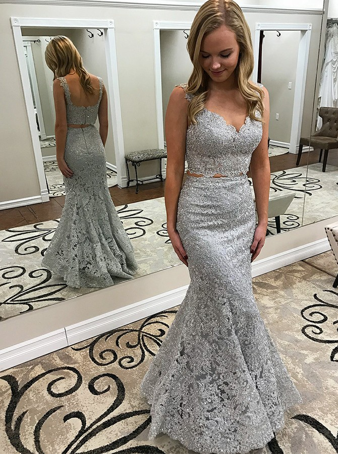 Two Piece Mermaid Straps Floor-Length Silver Lace Prom/Evening Dress