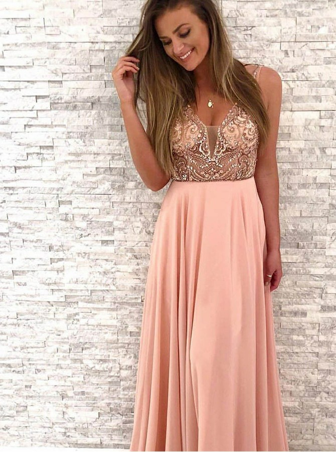 A-Line V-Neck Long Pink Chiffon Prom/Evening Dress with Appliques
