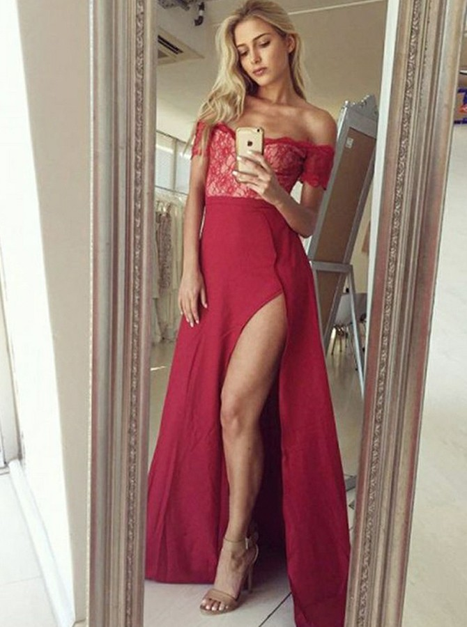 A-Line Off-the-Shoulder Floor-Length Prom Dress with Lace Split