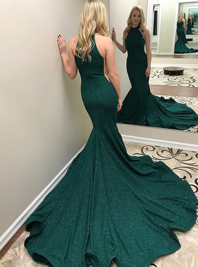 Mermaid Round Neck Sweep Train Hunter Glitter Prom/Evening Dress