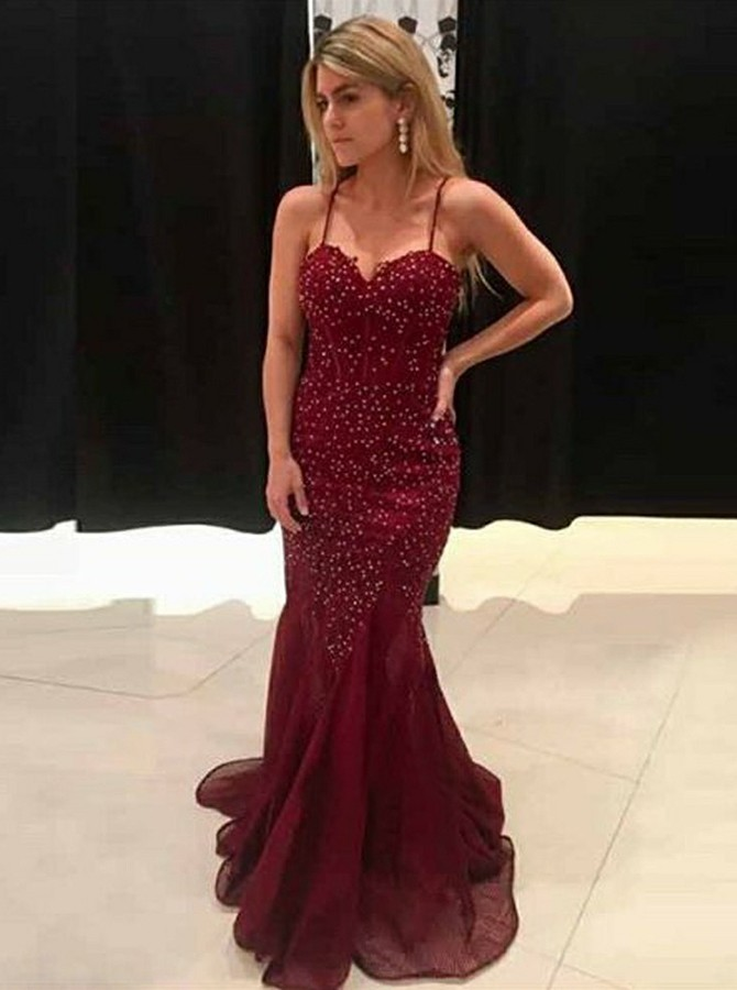 Mermaid Spaghetti Straps Long Burgundy Prom/Evening Dress with Beading
