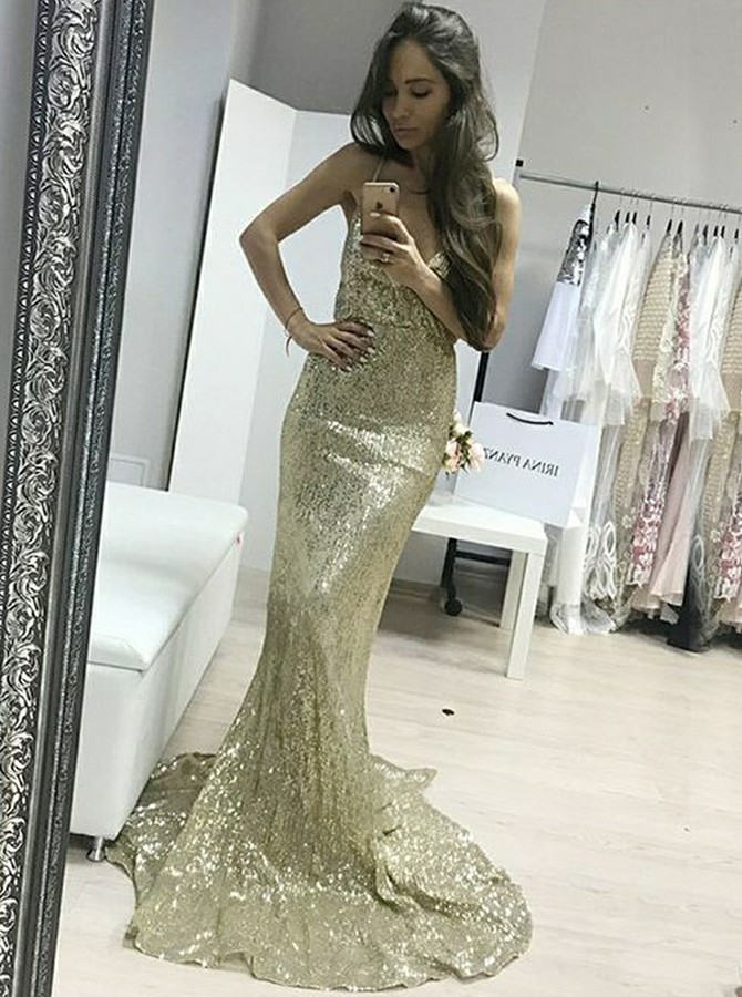 d0578c75858e Mermaid Spaghetti Straps Gold Sweep Train Sequined Prom/Evening Dress ...