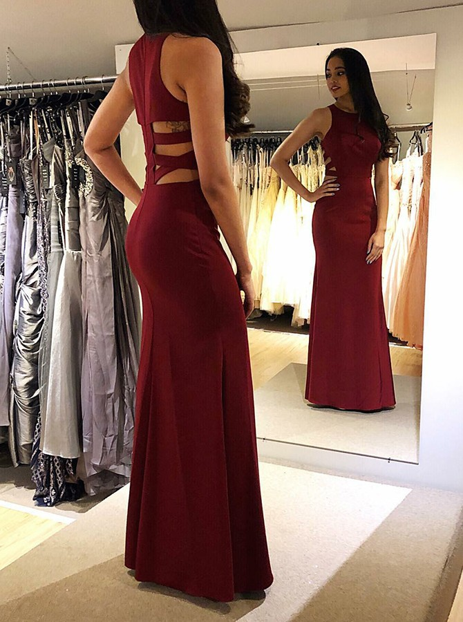 Mermaid Round Neck Floor-Length Burgundy Satin Prom/Evening Dress
