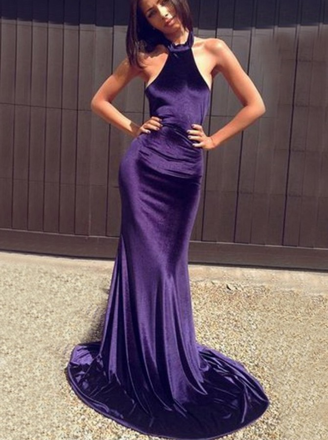 Mermaid Halter Sweep Train Satin Grape Backless Prom Dress
