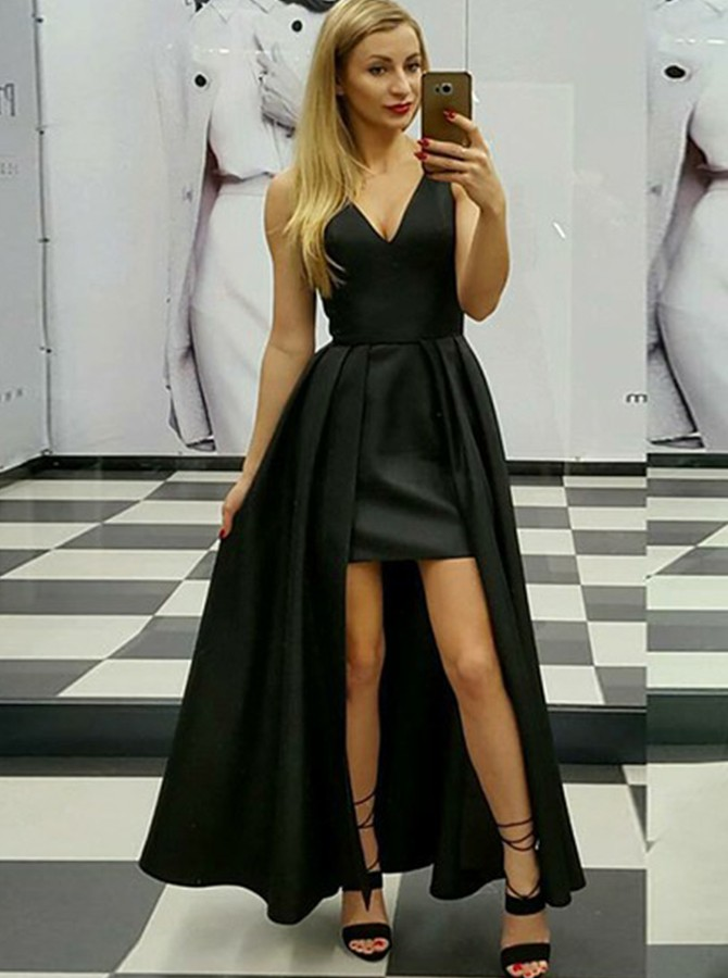 A-Line V-Neck Floor-Length Black Zipper-Up Satin Prom Dress
