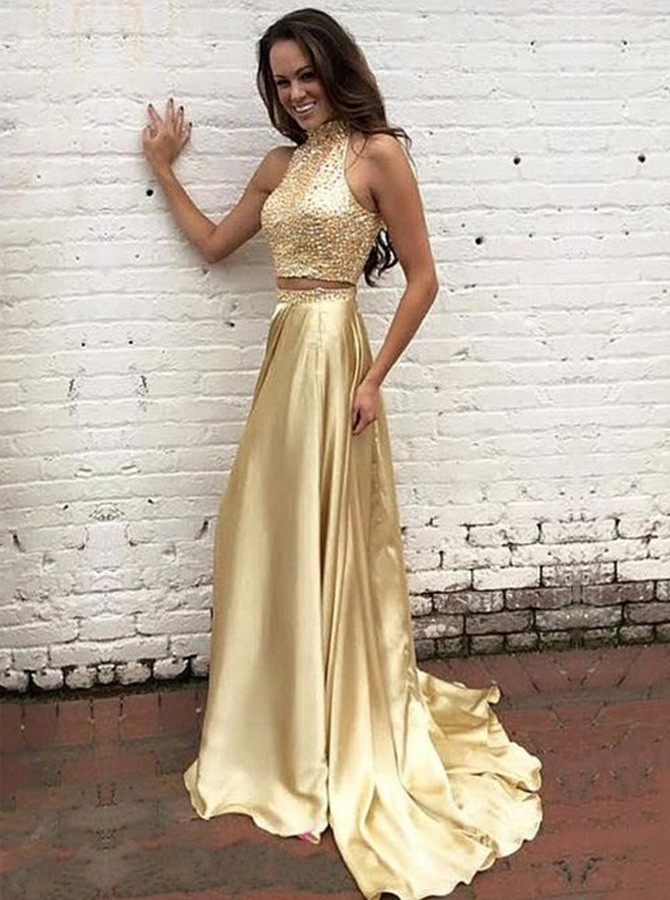 Two Piece Round Neck Long Champagne Prom Dress with Beading