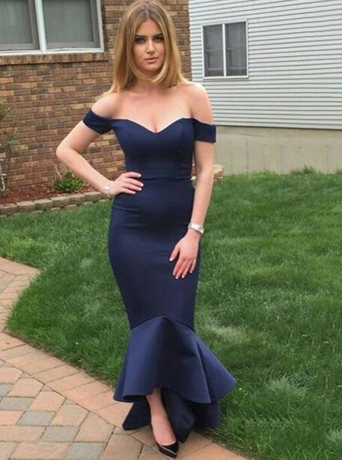 Mermaid Off-the-Shoulder Sweep Train Navy Blue Prom Dress