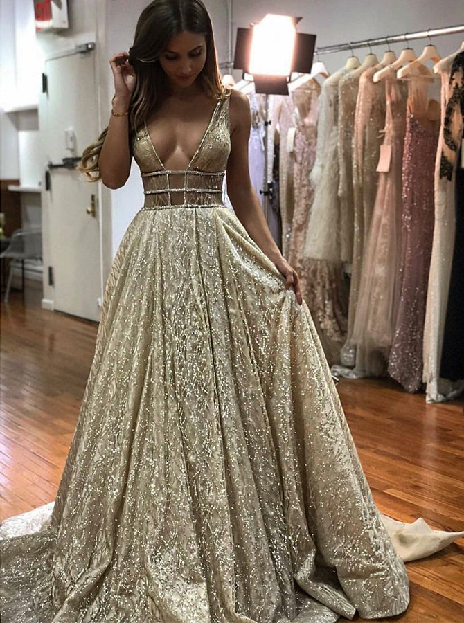 A-Line V-Neck long Backless Champagne Prom Dress with Sequins