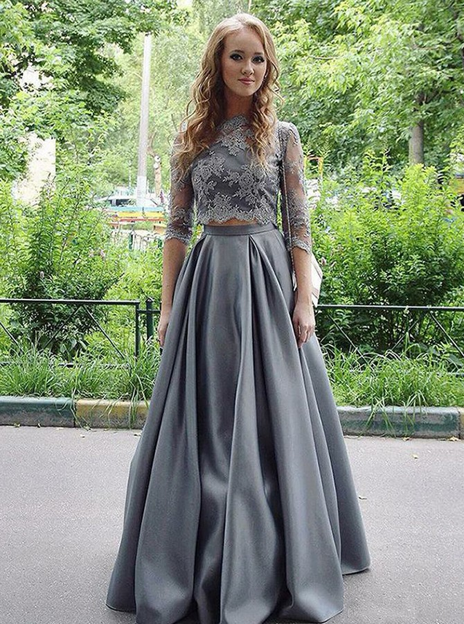 Two Piece Round Neck Long Sleeves Prom Dress with Appliques