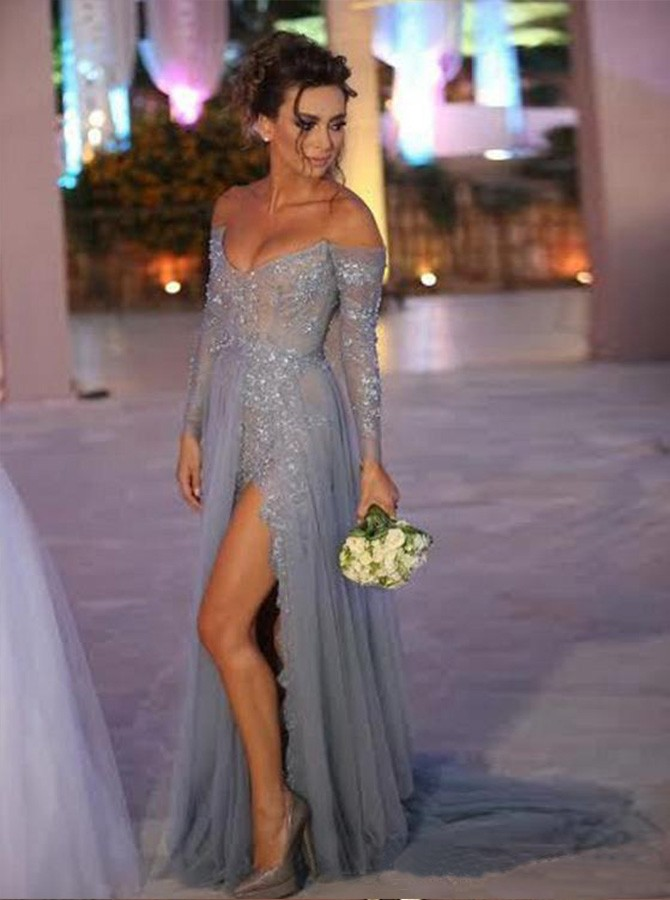 Sheath Off-the-Shoulder Long Sleeves Split Lace Prom/Bridesmaid Dress