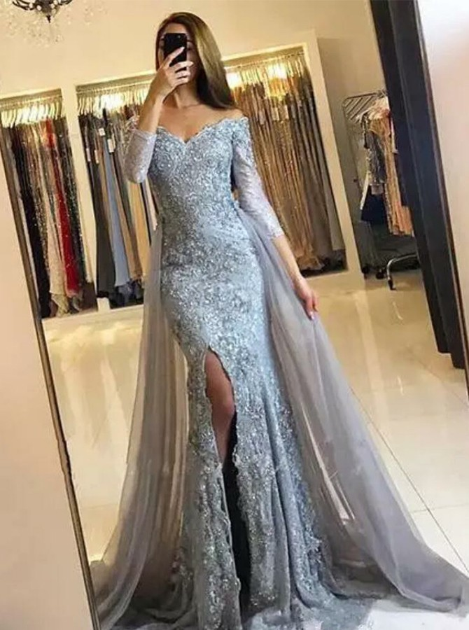 Detachable Off-the-Shoulder Long Sleeves Split Lace Prom/Evening Dress
