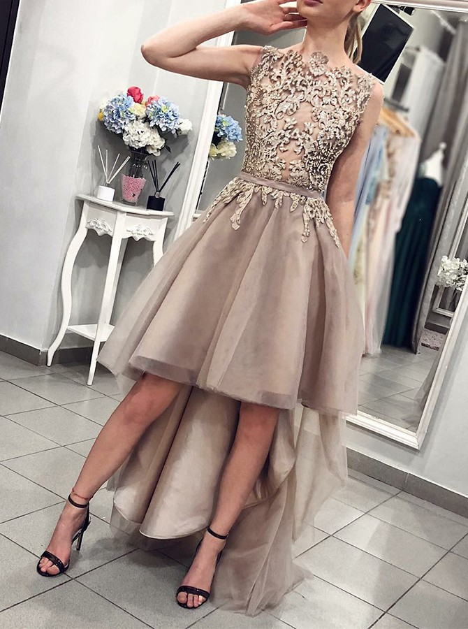 High Low A-Line Round Neck Floor-Length Prom Dress with Appliques