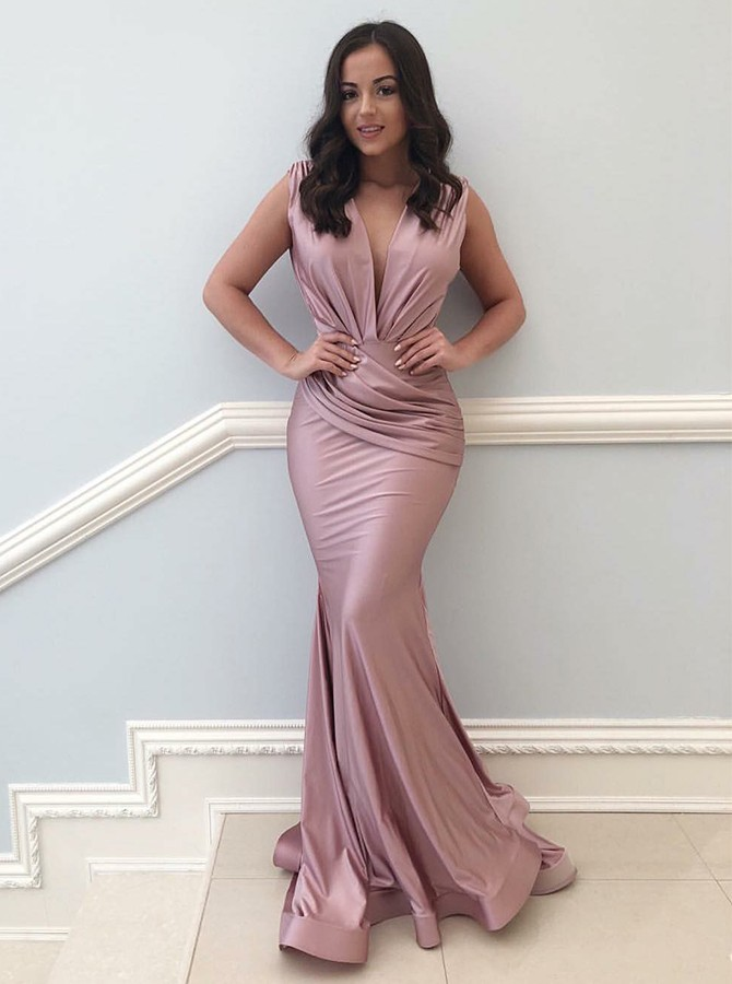 Mermaid V-Neck Sweep Train Elastic Satin Prom/Evening Dress with Ruched