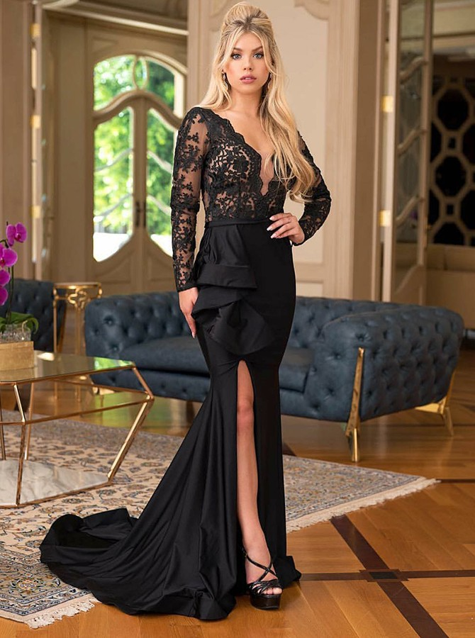 Mermaid V-Neck Black Long Sleeves Prom Dress with Lace Split