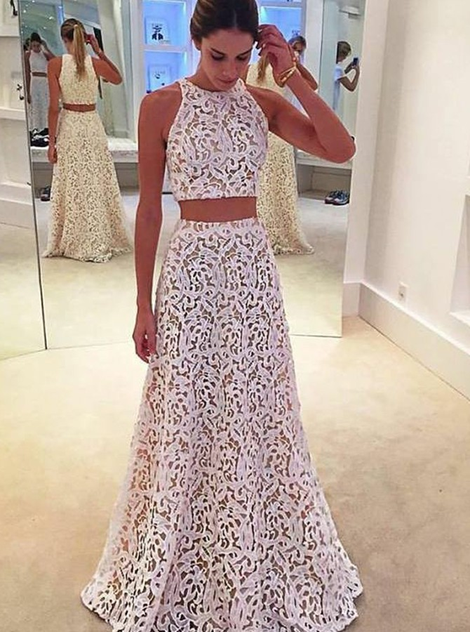 Two Piece Round Neck Floor-Length White Lace Prom/Evening Dress