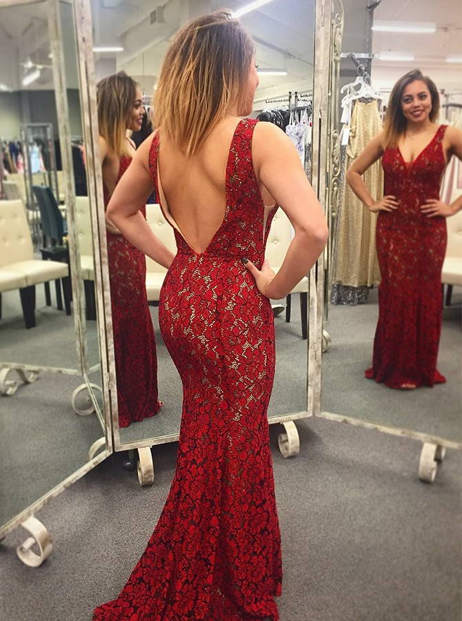Mermaid V-Neck Floor-Length Backless Red Lace Prom/Evening Dress