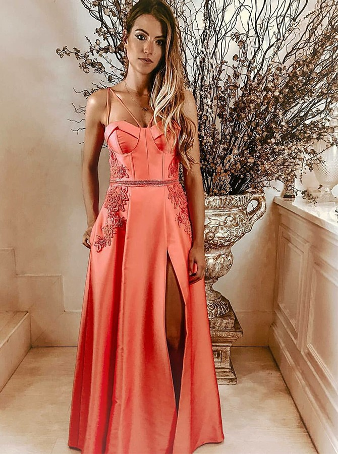 A-Line Spaghetti Straps Long Prom Dress with Appliques Split