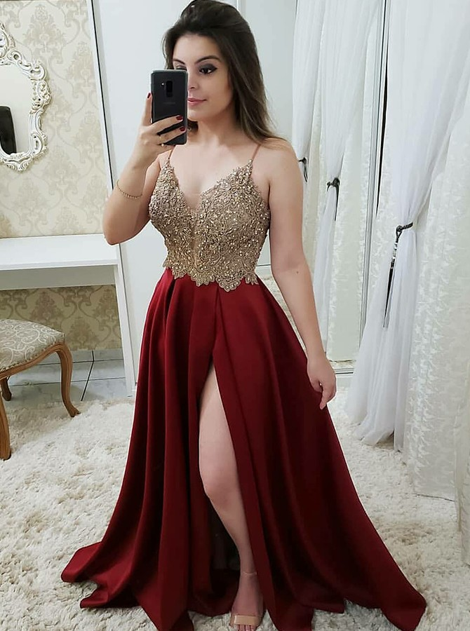 A-Line Spaghetti Straps Long Prom Dress with Appliques Beading Split