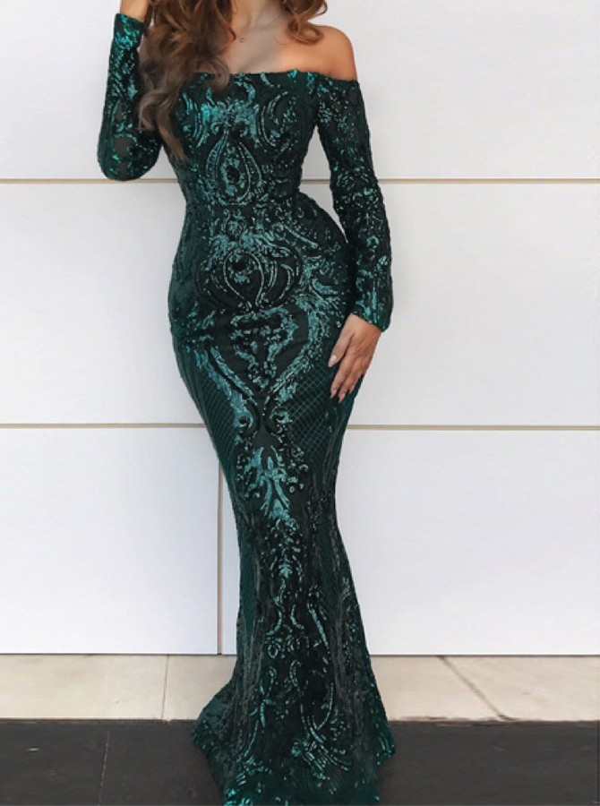 Mermaid Off-the-Shoulder Floor-Length Long Sleeves Prom/Evening Dress