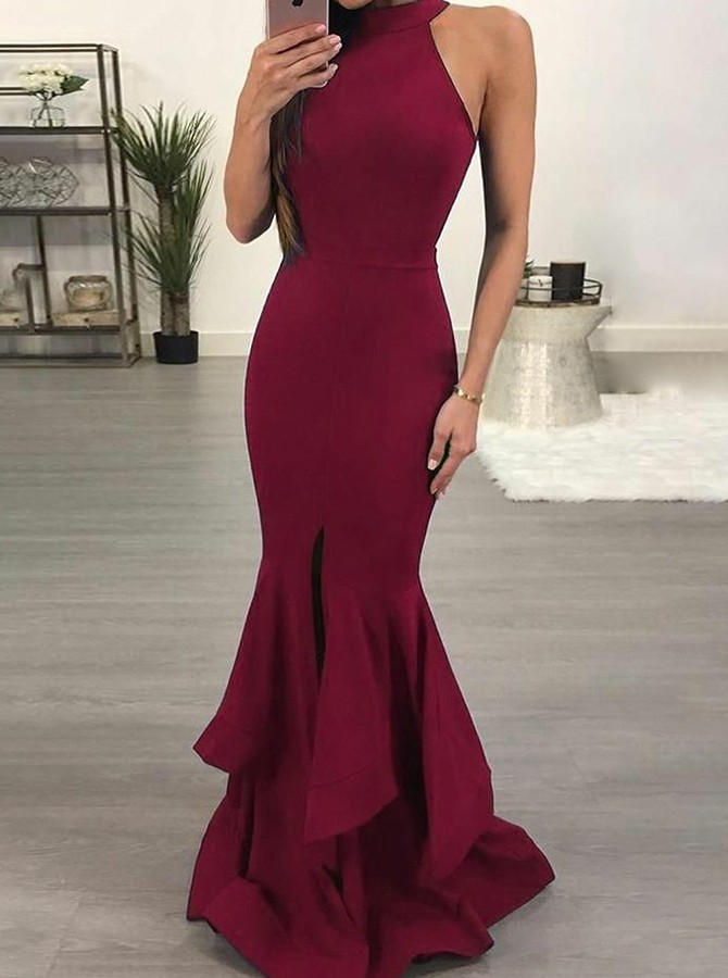 Mermaid Round Neck Floor-Length Burgundy Prom Dress with Ruffles