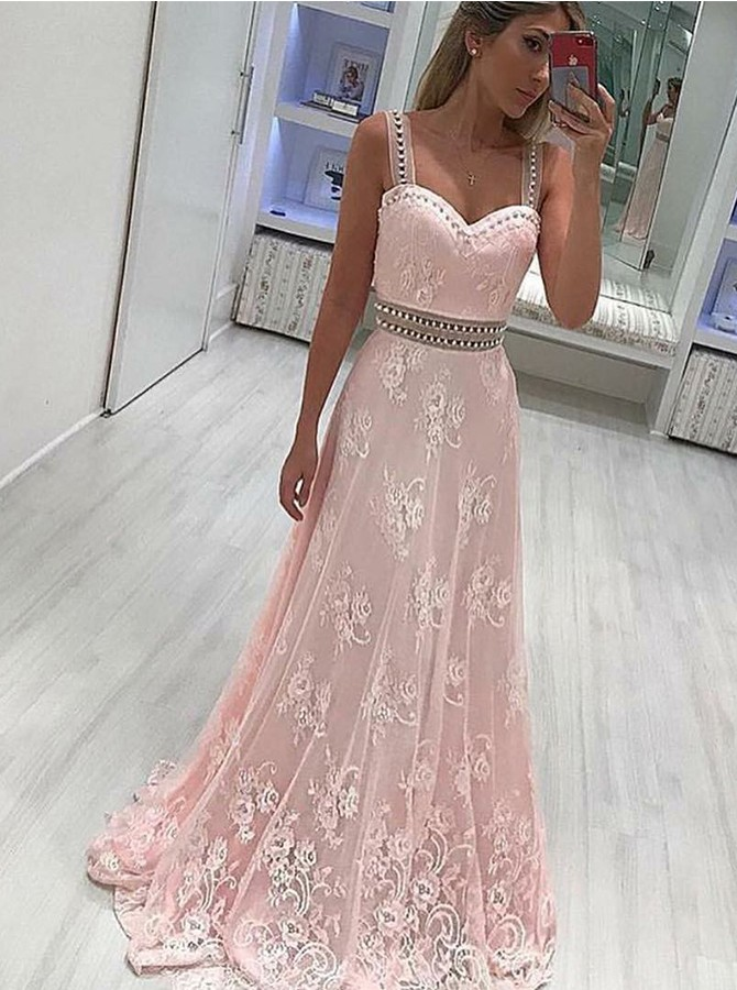 A-Line Straps Sweep Train Prom Dress with Appliques Beading
