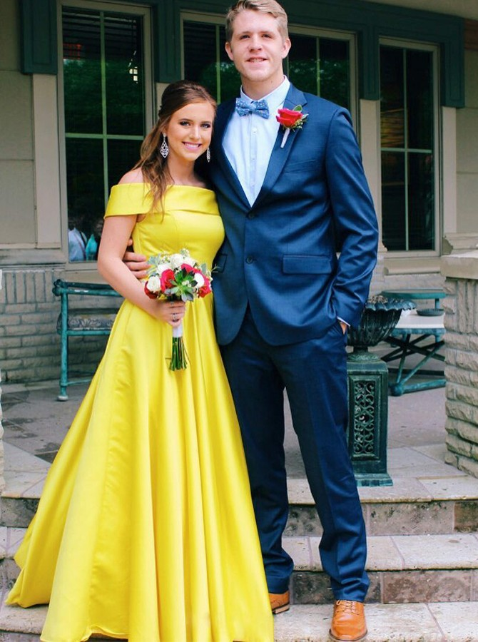 A-Line Off-the-Shoulder Daffodil Satin Floor-Length Prom Dress