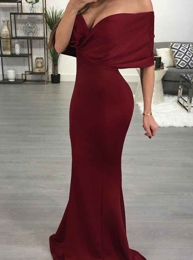 Mermaid Off-the-Shoulder Floor-Length Burgundy Prom Dress