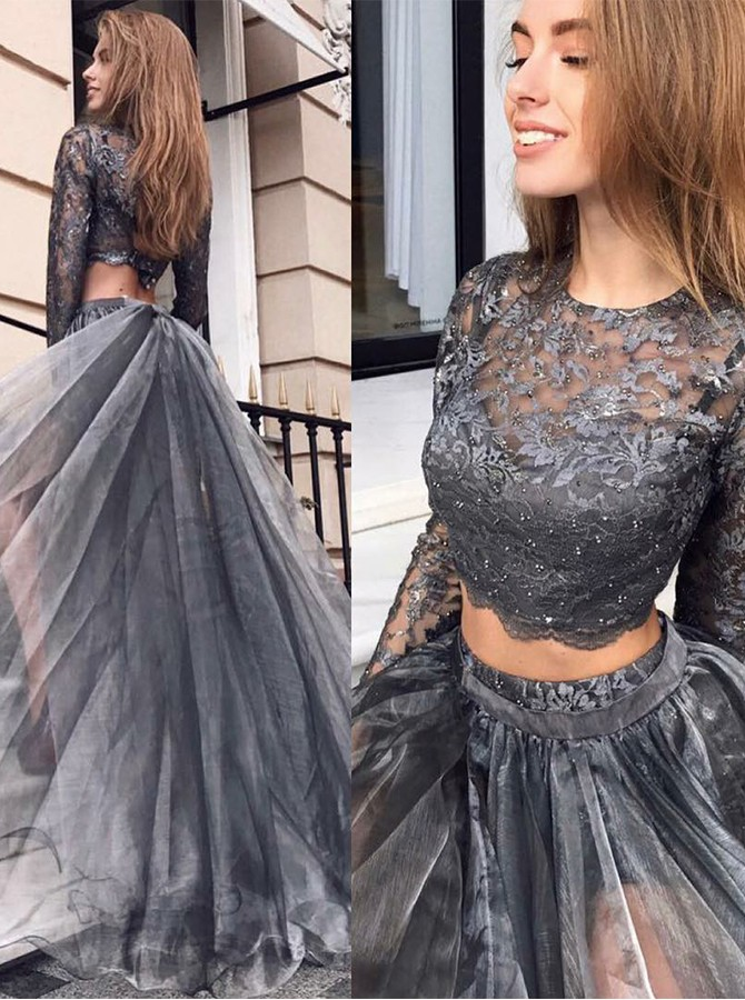 Two Piece Round Neck Long Sleeves Prom Dress with Lace
