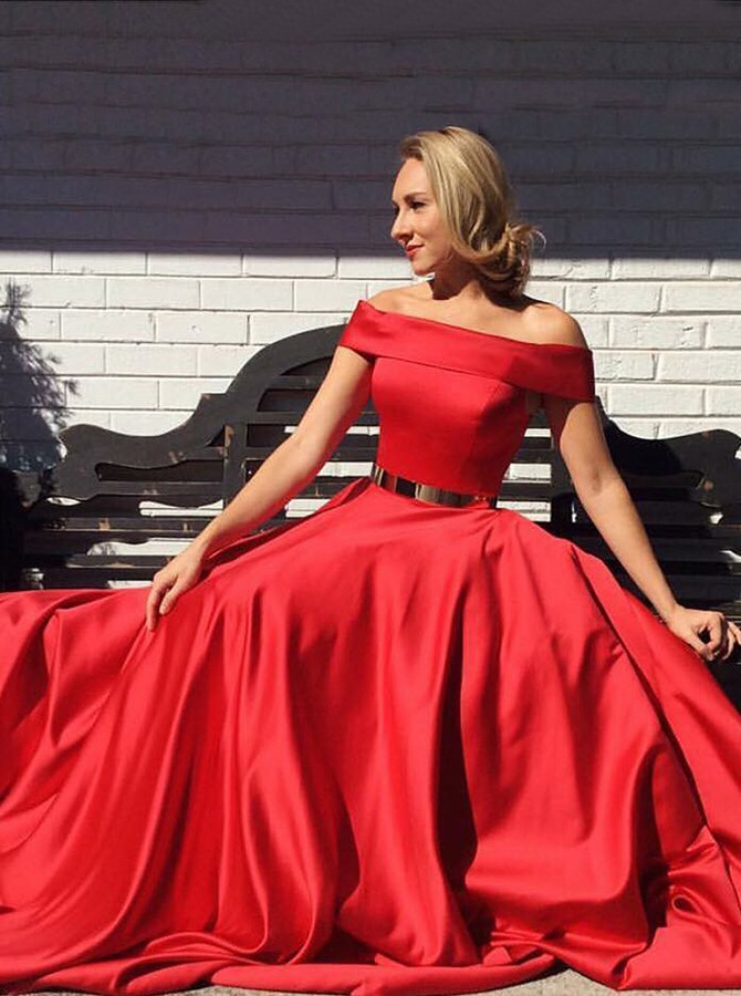 A-Line Off-the-Shoulder Sweep Train Red Satin Prom Dress