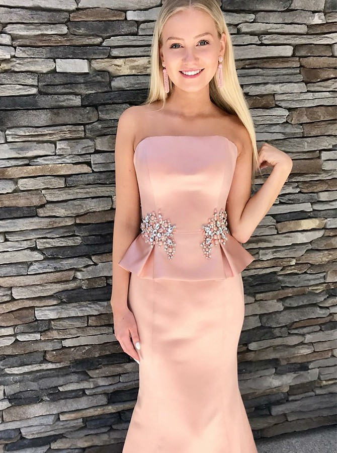 Two Piece Strapless Floor-Length Prom Dress with Appliques