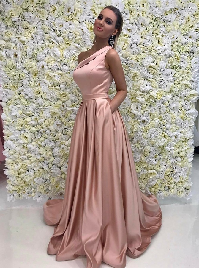 A-Line Long Prom Dress One-Shoulder Evening Dress with Pockets