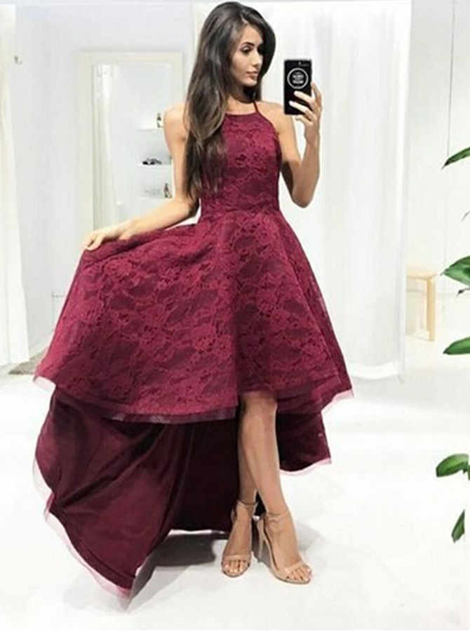 High Low A-Line Halter Floor-Length Lace Burgundy Prom Dress