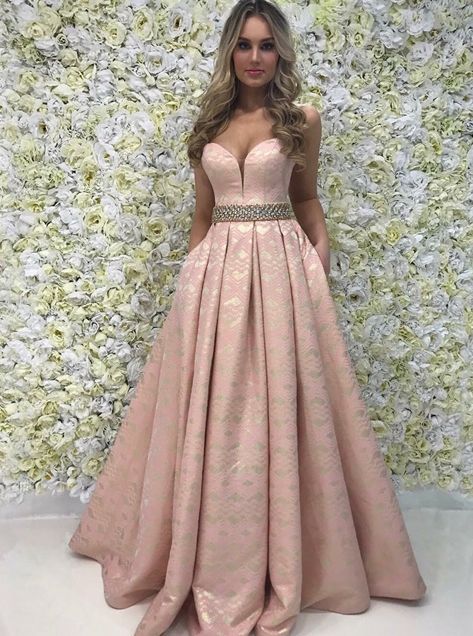 A-Line Sweetheart Long Prom/Evening Dress with Beading Pockets