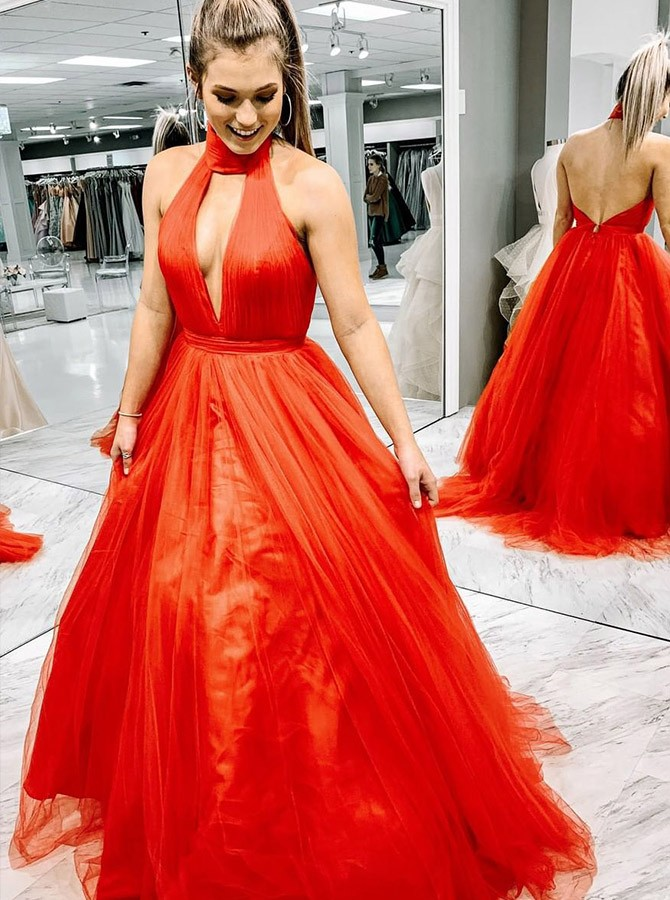 A-Line Halter Long Red Tulle Prom Dress with Ruched Backless Keyhole