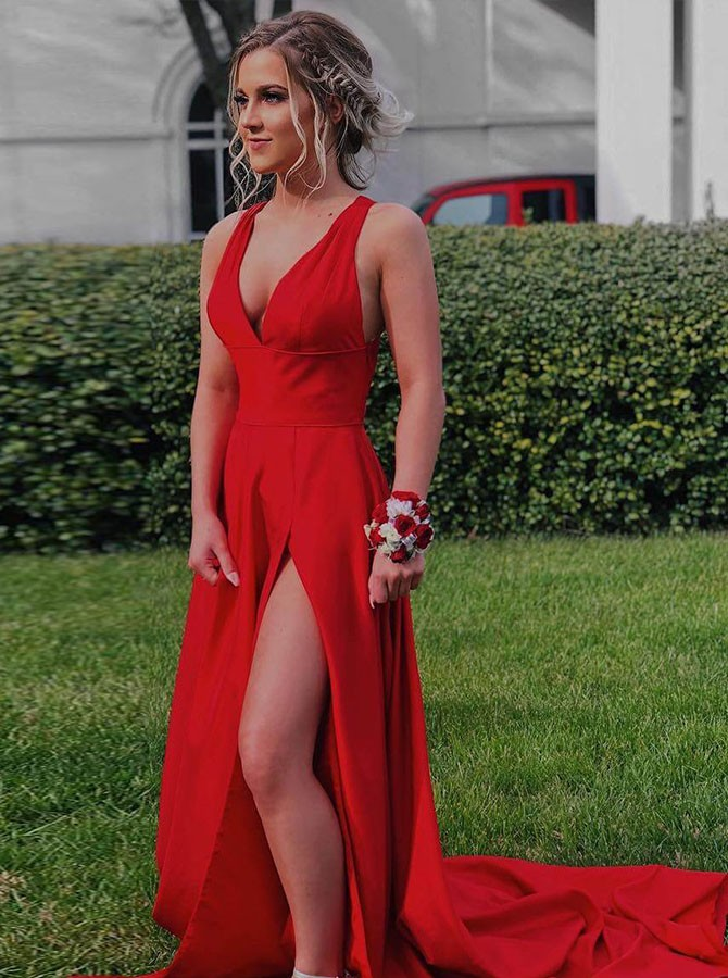 Sexy A-Line V-Neck Red Long Prom Dress with Side Slit