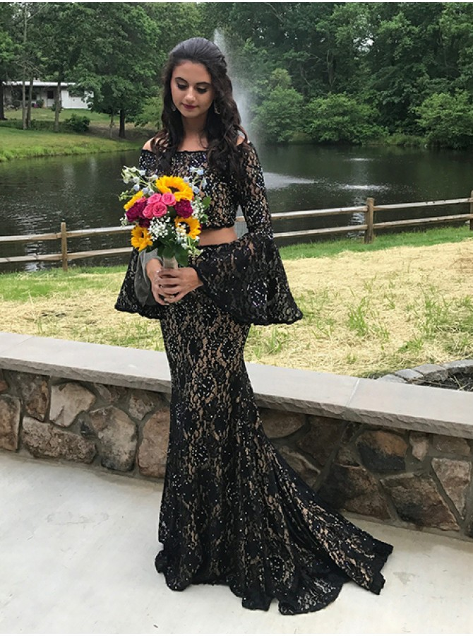 Two Piece Off-the-Shoulder Black Prom Dress Lace Evening Dress with Long Sleeves