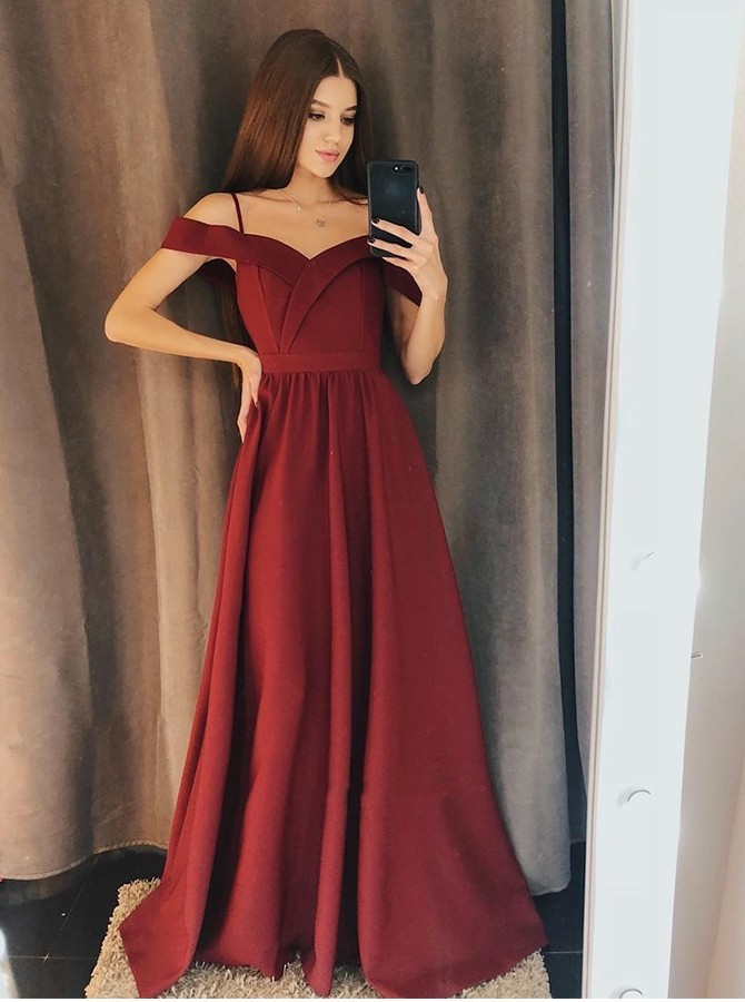 A-line Cold Shoulder Burgundy Split Floor Length Prom Evening Dress