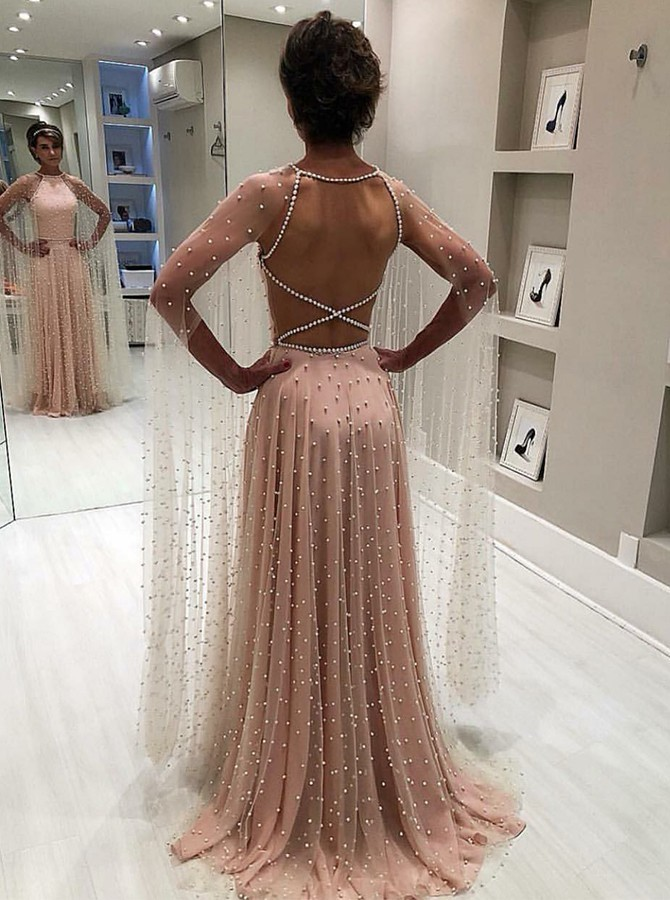 A-line Jewel Long Sleeves Criss-Cross Straps Pink Prom Dress with Pearls