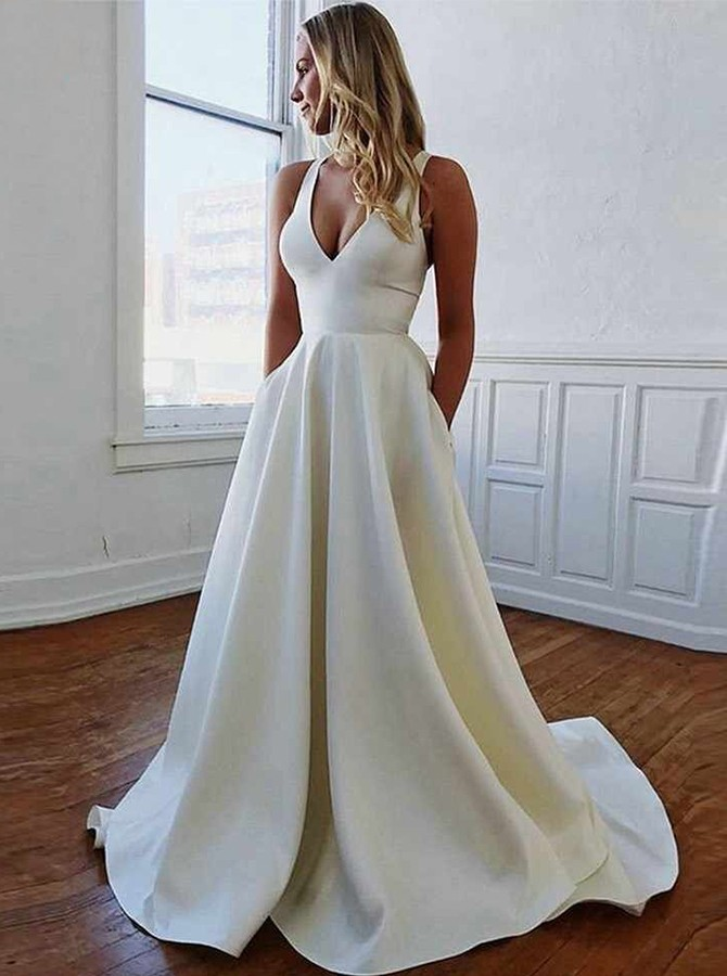 A-line Deep V-neck Simple Open Back Wedding Dress with Pocket
