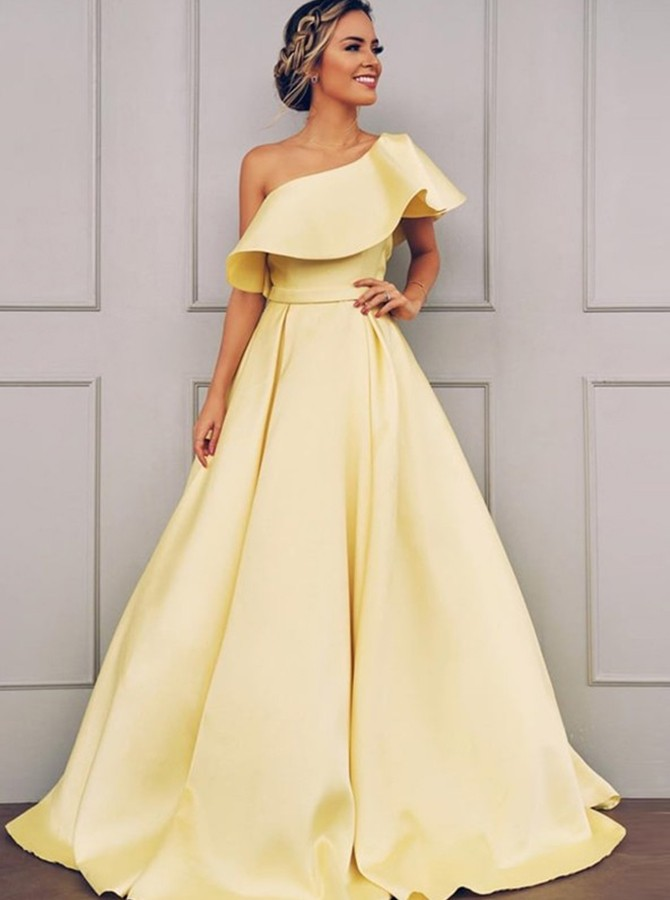 A-Line One-Shoulder Long Satin Prom Dress Daffodil Party Dress with Ruffles