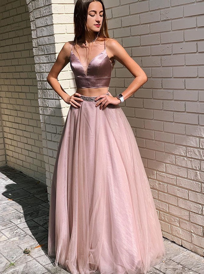 Two Piece Floor-Length Spaghetti Straps Lace-Up Prom Dress