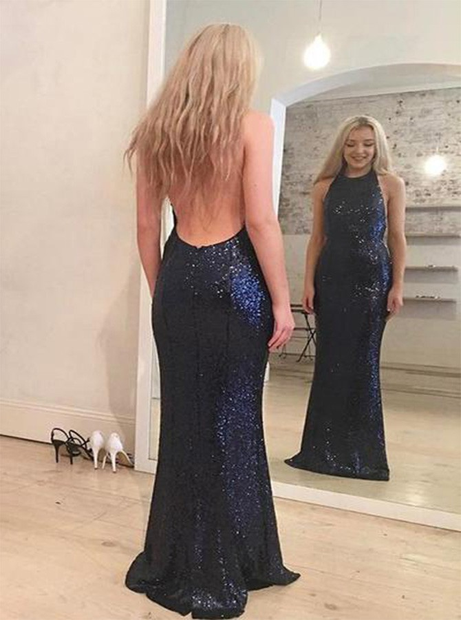 Mermaid Navy Blue Halter Backless Prom Dress with Sequins