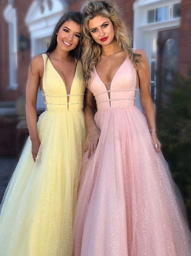 A-Line V-Neck Sleeveless Tulle Long Prom Dress Evening Dress
