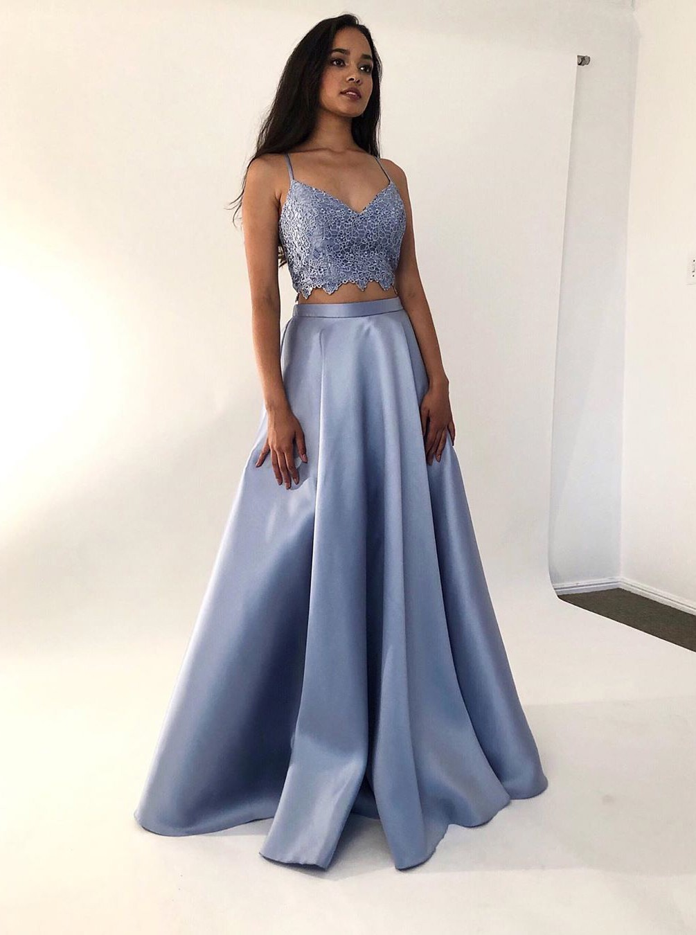 Fancy Two-Pieces Light Blue Criss-Cross Back Formal Prom Party Dress