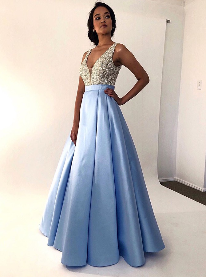 Modest V-neck Sleeveless Floor-Length Blue Prom Evening Dress with Beading