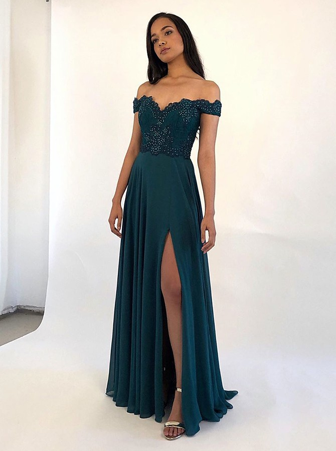Elegant Off Shoulder Dark Green Split Chiffon Prom Dress with Beading