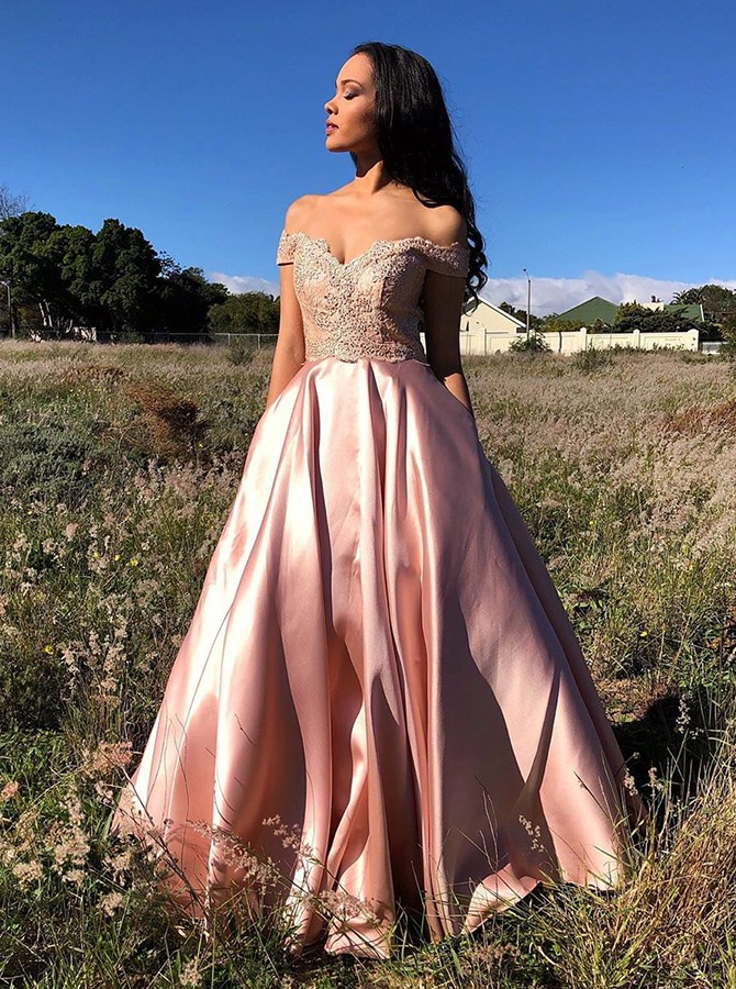 Delicate Off Shoulder Pink Formal Party Prom Dress with Pockets Appliques