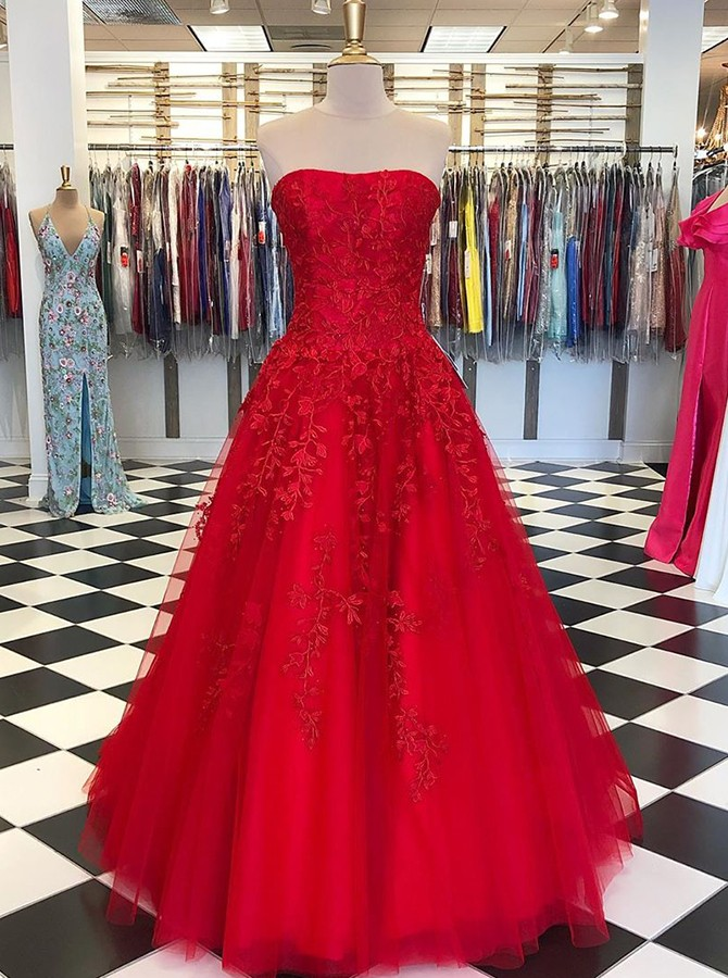 Red Strapless Floor-Length Prom Evening Dress with Appliques