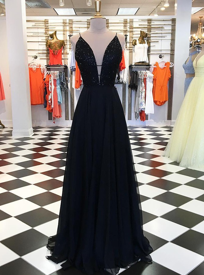 A-line V-neck Sleeveless Black Chiffon Prom Evening Dress with Beading