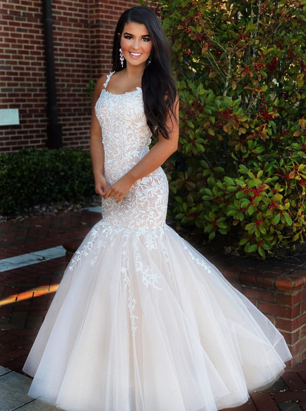 Mermaid Square Neck White Prom Evening Dress with Appliques